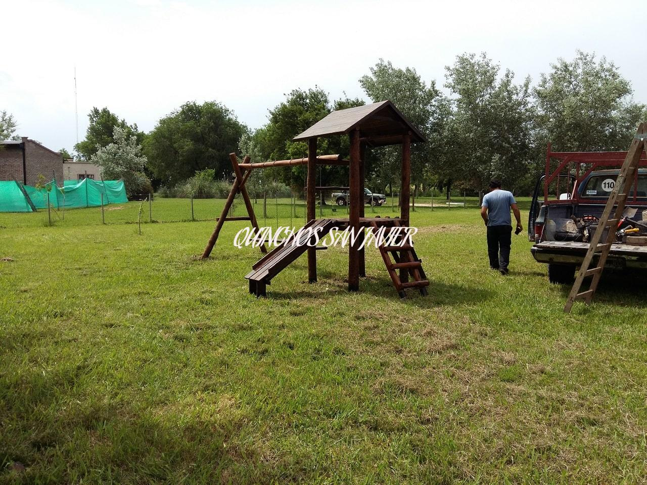 Mangrullo de Madera Para Niños Con Tobogán Hamaca y Puente